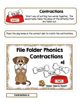 Contractions- File Folder Phonics #1