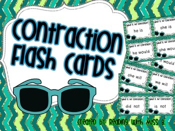 Contractions - Flash Cards/Task Cards & Recording Sheet