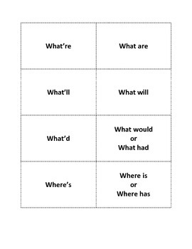 Contractions Flashcards Printables