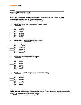 Contractions: Form, Use, Spell Correctly. Grade 2, L.2.2.c  Multiple Choice