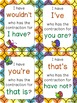 Contractions Activities With I Have, Who Has, Bingo, and Flashcards