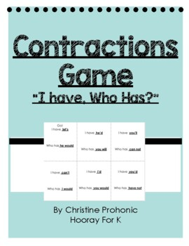 "Contractions Game - ""I have, who has?"""