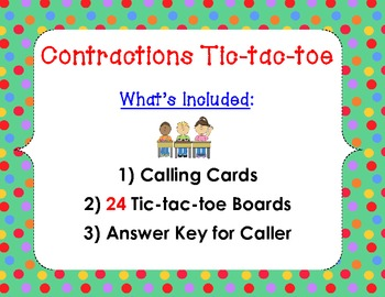 Contractions Game: Tic-tac-toe (am, are, have, is, not, us, will, would)
