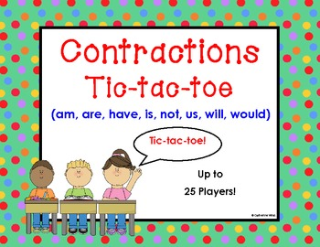 Contractions Game: Tic-tac-toe (am, are, have, is, not, us