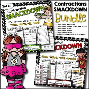 Contractions Games BUNDLE --- Contractions Scoot, Bingo, Posters & More!