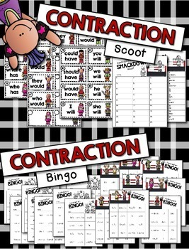 Contractions Games --- Scoot, Bingo, Posters & More  {has, have, will, would}
