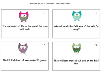 Contractions: Hoot Hoot Hooray Words Their Way Task Cards