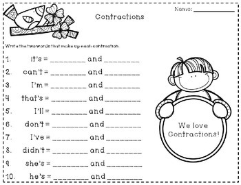 Contractions ~ I Have, Who Has
