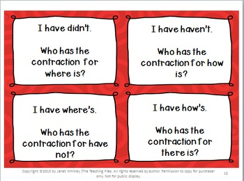 Contractions:  I Have-Who Has Cards, Task Cards, and Concentration Cards