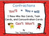 Contractions:  I Have-Who Has Cards, Task Cards, and Conce