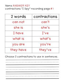 """Contractions: """"I Spy"""""""