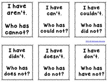 Contractions - I have.. Who has? (36 cards!)