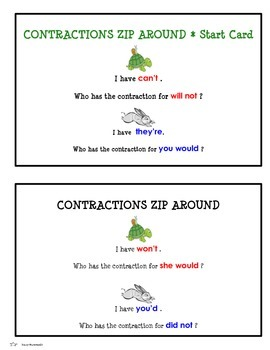Contractions Game - I have!  Who has?