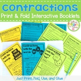 Contractions Interactive Notebook  Print & Fold Booklet - Contractions Worksheet