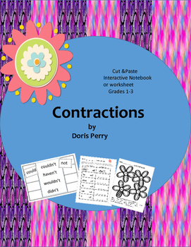 Contractions Interactive Notebook cut and Paste