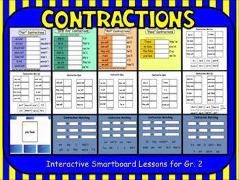 Contractions:  Interactive Smartboard Lessons for Gr. 2