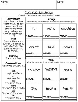 Contractions Jenga ELA Game: Understanding Contractions