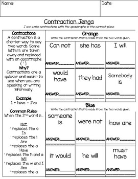 Contractions Jenga ELA Game: Writing Contractions (Apostrophes)
