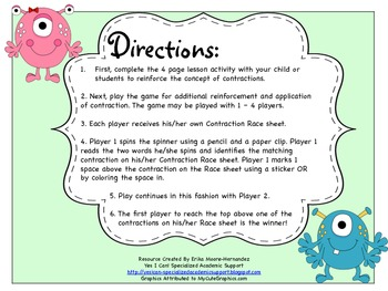 Contractions! (Lesson and Game Included)