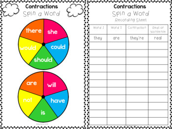 Contractions Literacy Centers Print and Play