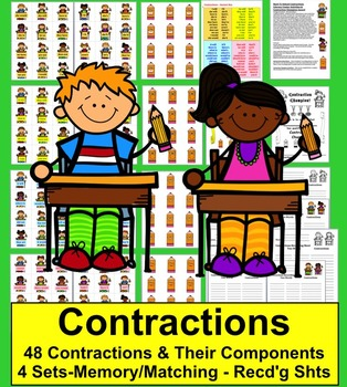 Contractions Activities:  School Themed! 48 Pairs