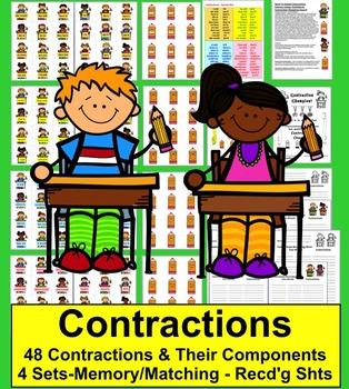 Contractions Activities:  School Themed! 48 Pairs
