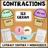 Contractions Literacy Centers with Worksheets - Ice Cream Theme