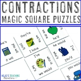 Contractions Literacy Center Game - Magic Square Puzzle