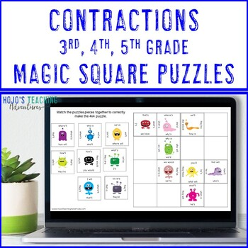Contractions Centers | Contractions Game | Contraction Literacy Center Game