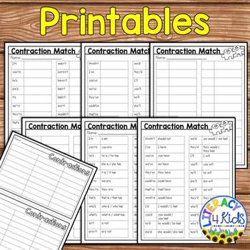 Contractions Match Activity for Second and Third Graders