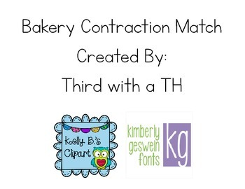 Contractions Match - Bakery Theme