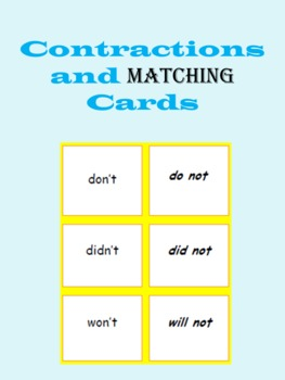 Contractions Matching Cards