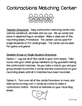 Contractions Matching Center and Recording Sheet