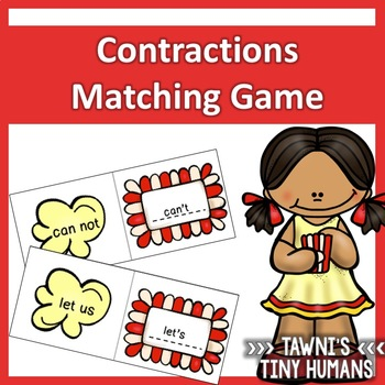 Contractions Matching Game - Popcorn Themed
