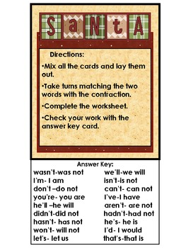 Contractions  Matching Game: Christmas Center Activity