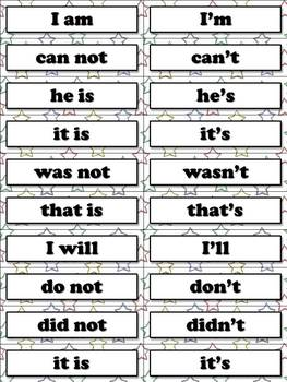 Contractions Matching Game Sort - Word Study Feature J