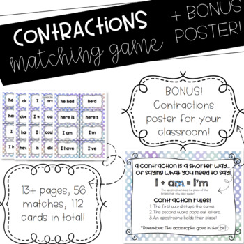 Contractions Matching Game and Bonus Poster!