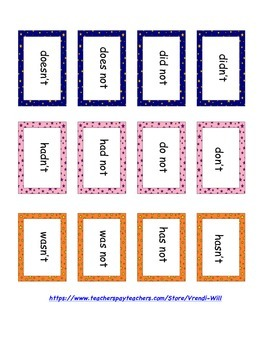 Contractions Memory Game or Matching Center