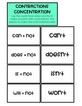 Contractions Memory Match Activity/Review Game