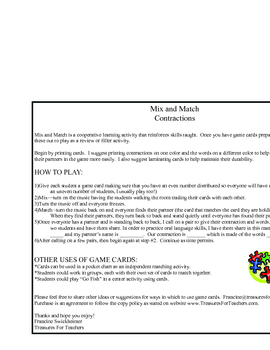 Contractions - Mix and Match