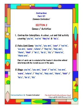 Contractions Pack (2) - (Those Pesky!) 'Common Confusions' (Again!)