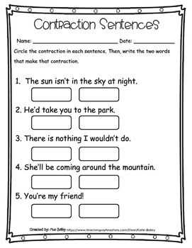 Contractions Packet