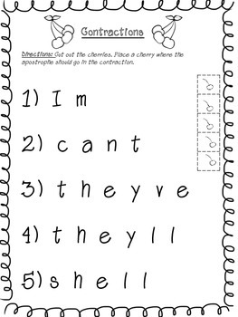 Contractions Packet - Worksheets & Assessment