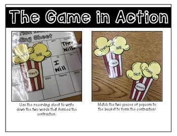 Contractions Popcorn Match Up Game