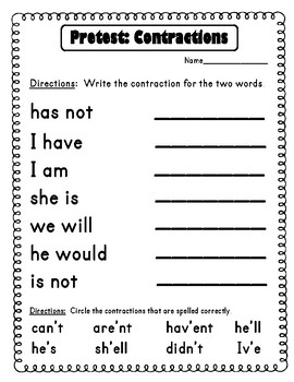 Contractions Printables and Activities