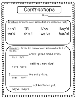 Contractions: Printables and Game