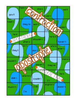 Contractions Puzzle Extension Grammar Apostrophes Foldable Interactive Notebook