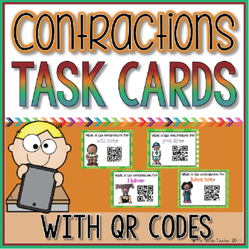 Contractions Task Cards with QR Codes