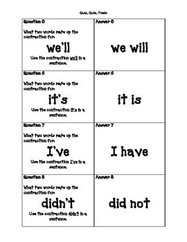 Contractions Quiz-Quiz-Trade