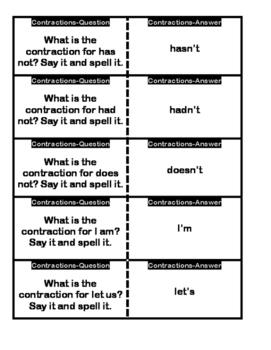 Contractions Quiz Quiz Trade Cards